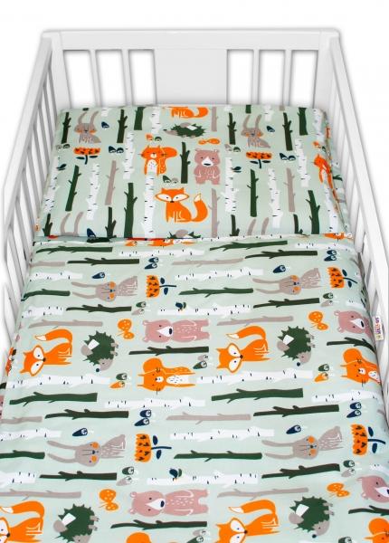 Baby Nellys 2 dílné bavlněné povlečení - Zvířátka z lesa, khaki, 135 x 100