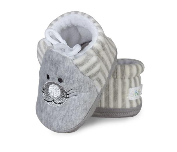 Botičky/capáčky/papučky 12-18m Risocks Kočička s bílými proužky - šedá