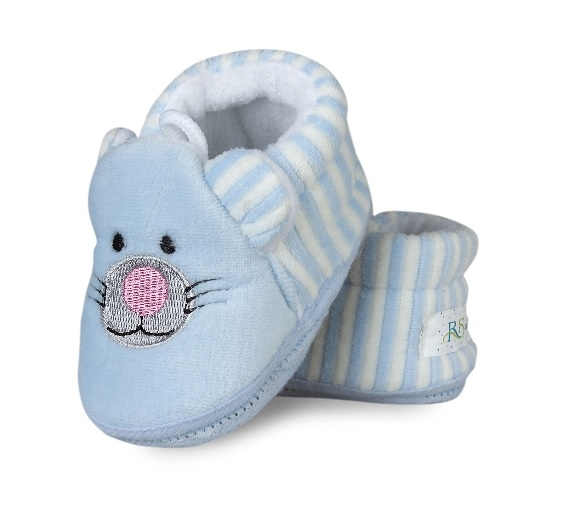 Botičky/capáčky/papučky 12-18m Risocks Kočička s proužky  - sv.modrá