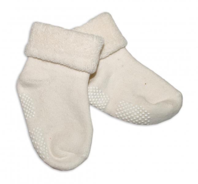 Kojenecké froté ponožky, 12-18 m, Risocks protiskluzové - smetanové