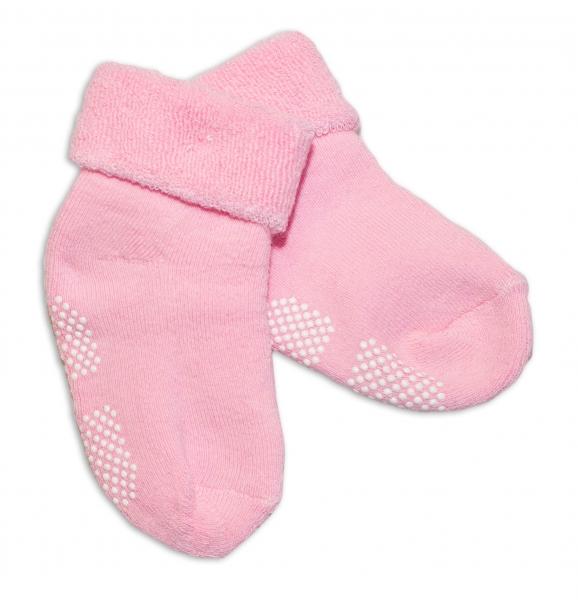 Kojenecké froté ponožky, 12-18 m, Risocks protiskluzové - růžová