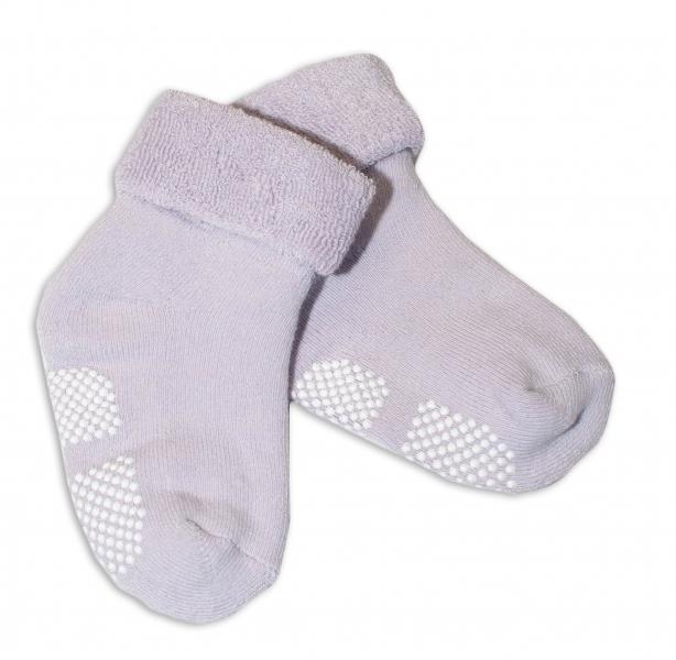 Kojenecké froté ponožky, 12-18 m, Risocks protiskluzové - lila