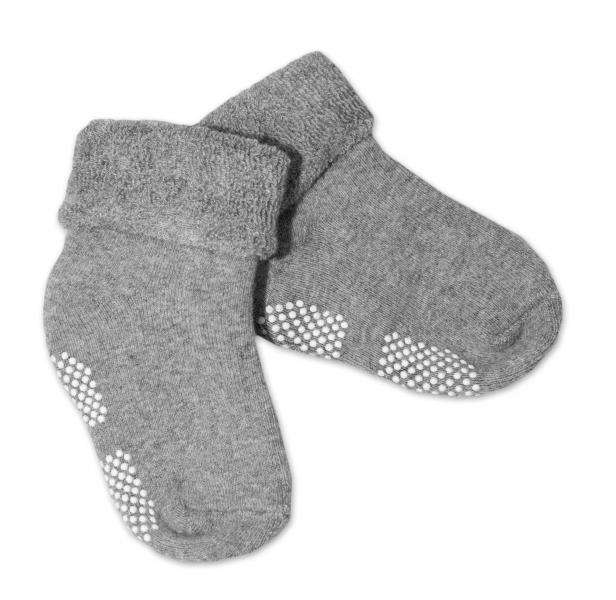 Kojenecké froté ponožky, 12-18 m, Risocks protiskluzové - šedé