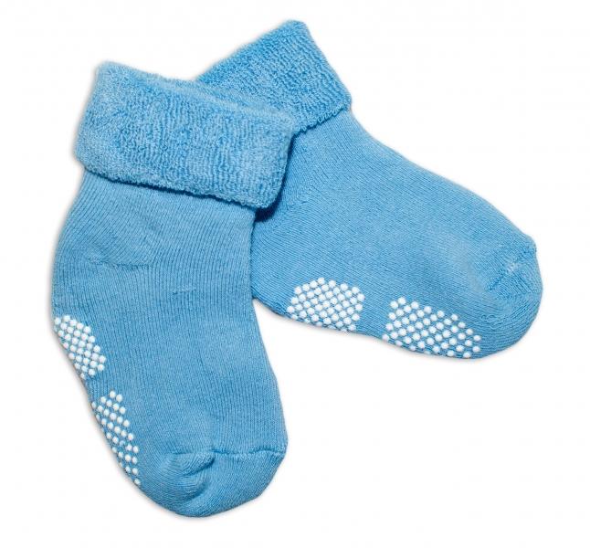 Kojenecké froté ponožky, 12-18 m, Risocks protiskluzové - sv. modré