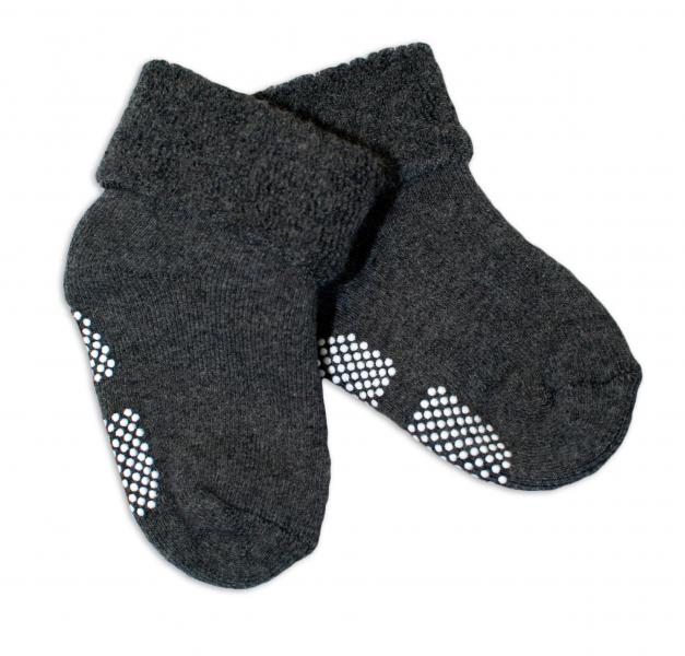Kojenecké froté ponožky, 12-18 m, Risocks protiskluzové - grafit