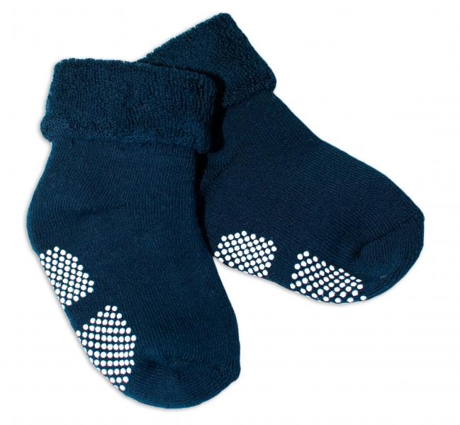 Kojenecké froté ponožky, 12-18 m, Risocks protiskluzové - tm. modré