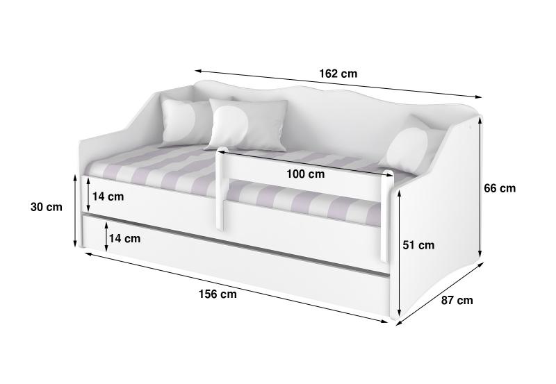 BabyBoo Dětská postel LULU 160 x 80 cm - Hippo