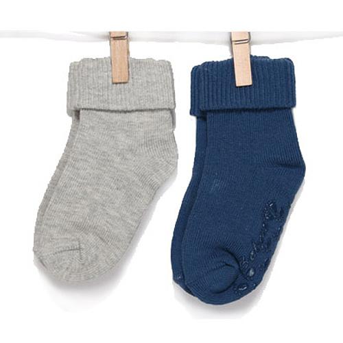 BOBO BABY Kojenecké ponožky 2 páry - šedá, modrá, vel. 11-13 cm
