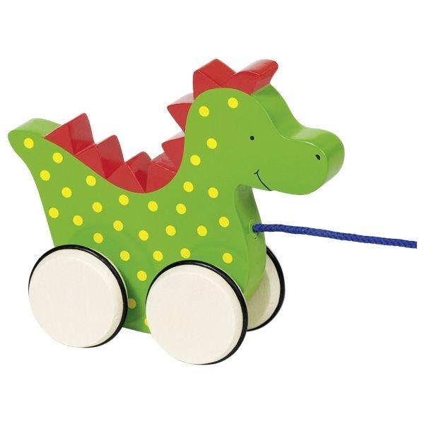 GOKI Edukační dřevěná hračka 15 cm tahací - Dráček