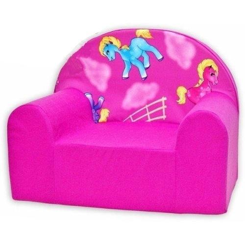 Dětské křesílko/pohovečka Nellys ® Koníček - růžové