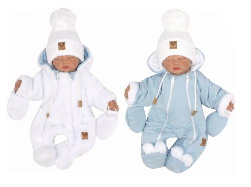 Z&Z Zimní oboustranná kombinéza s kapucí + rukavičky, modro-bílá, Velikost: 56 (1-2m)