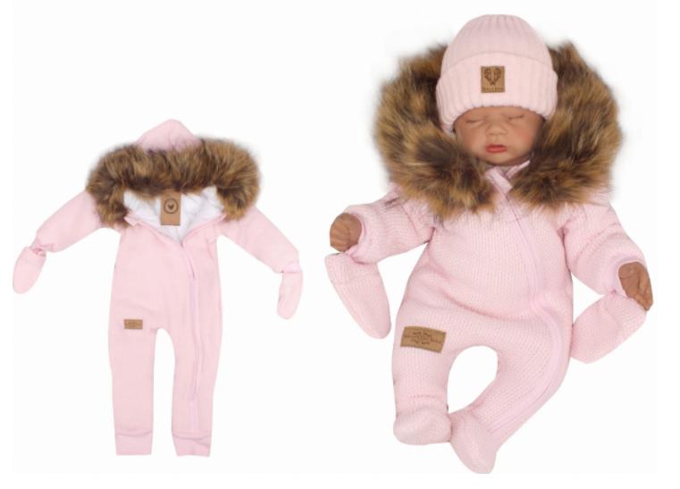 Z&Z Zimní kombinéza s kapucí a kožešinou + rukavičky, růžová, Velikost: 56 (1-2m)