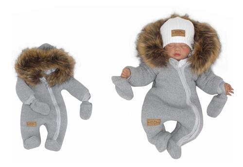 Z&Z Zimní kombinéza s kapucí a kožešinou + rukavičky, šedá