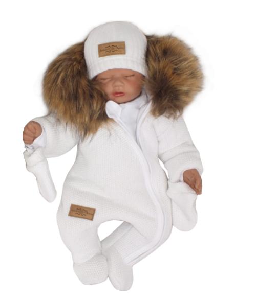 Z&Z Zimní kombinéza s kapucí a kožešinou + rukavičky, bílá