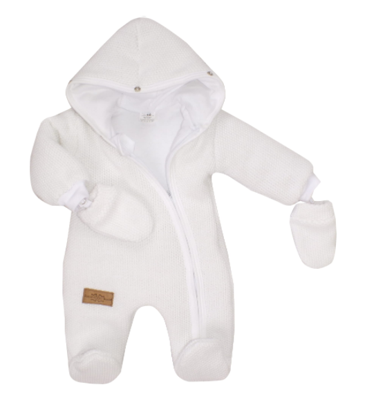 Z&Z Zimní kombinéza s kapucí a kožešinou + rukavičky, bílá, vel. 68