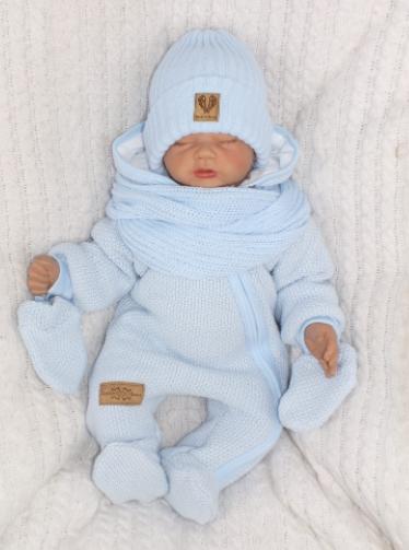 Z&Z Zimní kombinéza s kapucí a kožešinou + rukavičky, modrá, vel. 62