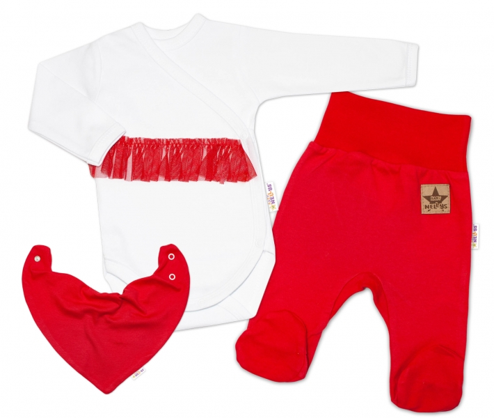 Baby Nellys 3-dílná sada Body dl. rukáv s tutu, šátek, polodupačky, červená, bílá, vel. 62