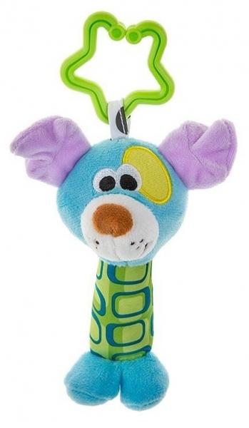 AKUKU Plyšová hračka - chrastítko - Pejsek - modrý