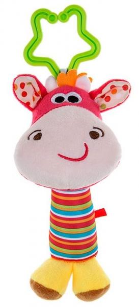 AKUKU Plyšová hračka, chrastítko  Žirafka, růžová