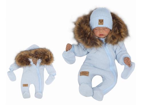 Z&Z Zimní kombinéza s kapucí a kožešinou + rukavičky, modrá, vel. 74