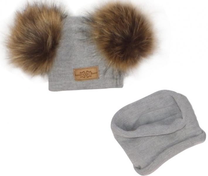 Z&Z Zimní čepice s bambulemi z kožešinky + komínek, šedá