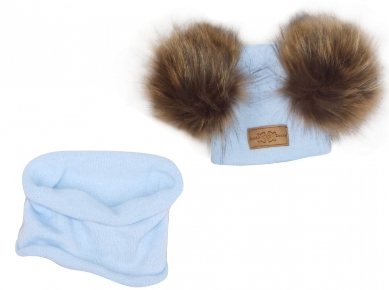 Z&Z Zimní čepice s bambulemi z kožešinky + komínek, modrá, 42/46cm