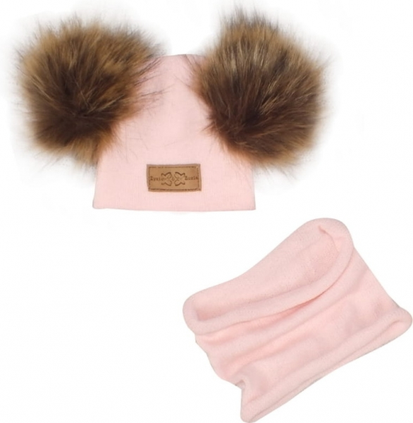 Z&Z Zimní čepice s bambulemi z kožešinky + komínek, světle růžová