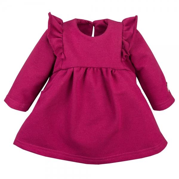 EEVI Dívčí šaty s volánky - bordó