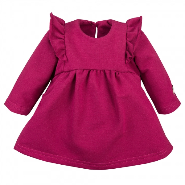EEVI Dívčí šaty s volánky - bordó, vel. 80