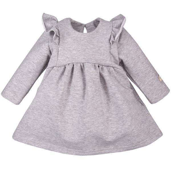 EEVI Dívčí šaty s volánky - šedé, vel. 92