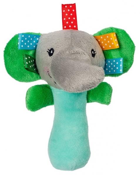 AKUKU Plyšová hračka - chrastítko, pískátko - Slon - zelená