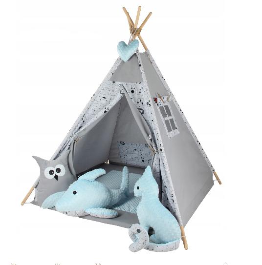 Baby Nellys Stan pro děti týpí s velkou výbavou Zvířátka, šedý, mátový