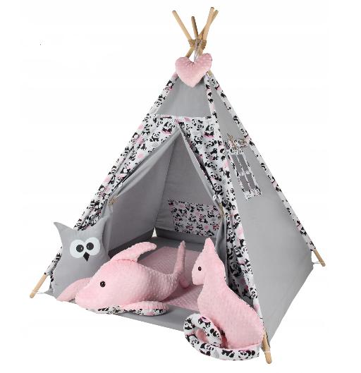 Baby Nellys Stan pro děti týpí s velkou výbavou Zvířátka - šedý, růžový