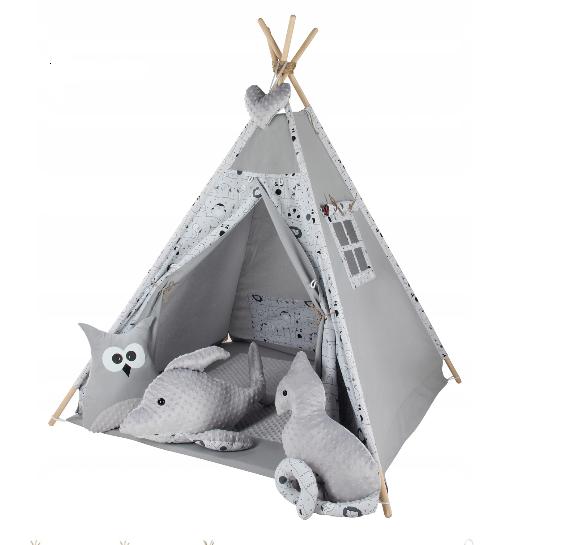 Baby Nellys Stan pro děti týpí s velkou výbavou Zvířátka - šedý