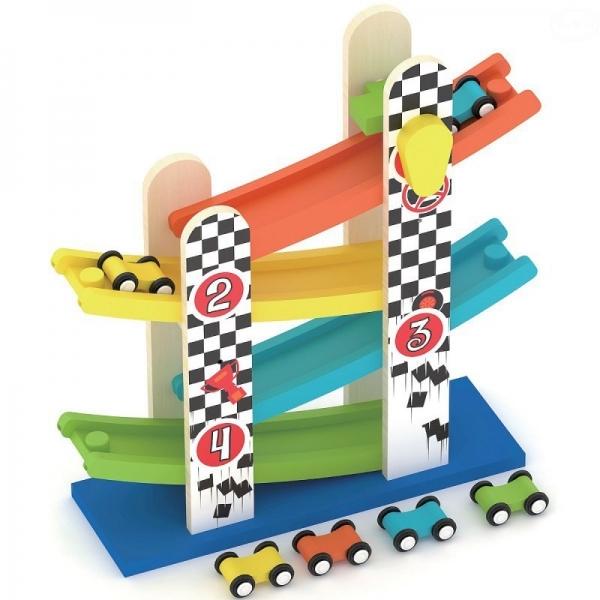 Smily Play Dřevěná skluzavka s autíčky