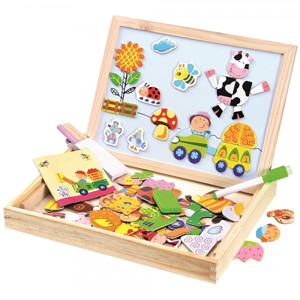 BINO Dětská multifunkční magnetická tabulka s puzzlemi