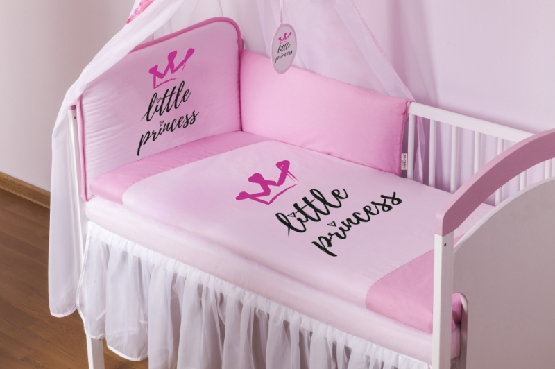 Baby Nellys 4-dílná sada mantinel s povlečením Little Princess + nebesa, růžová, 135x100