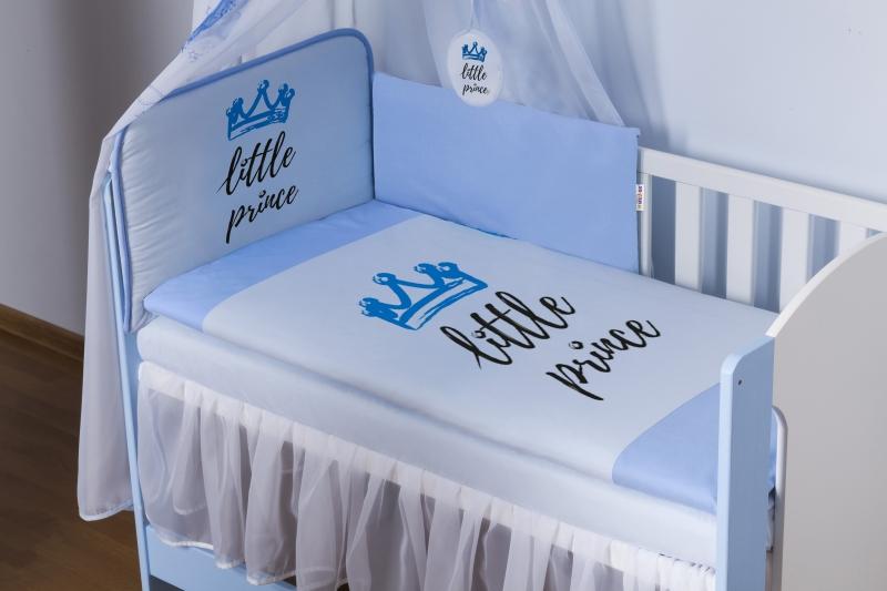 Baby Nellys 4-dílná sada mantinel s povlečením Little Prince + nebesa, modrá, 135x100