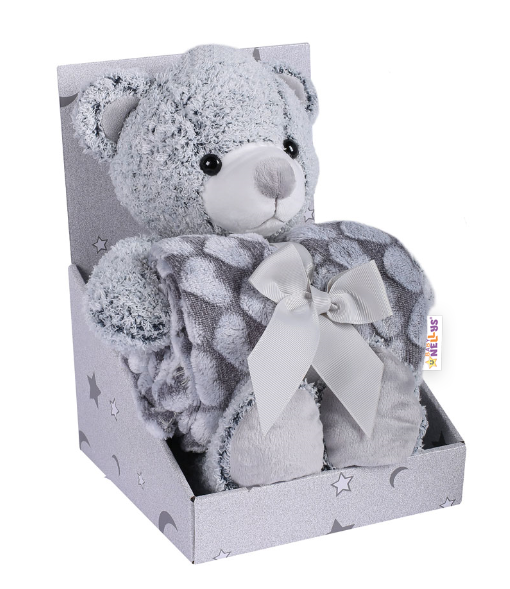 Baby Nellys Dětská sada deka + plyšová hračka Medvídek - šedá