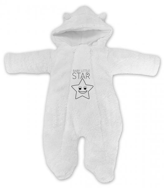 Baby Nellys Zimní chlupáčková kombinézka Little STAR, bílá, Velikost: 56 (1-2m)