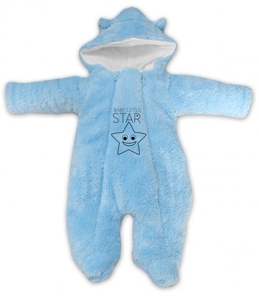 Baby Nellys Zimní chlupáčková kombinézka Little STAR, sv. modrá, Velikost: 56 (1-2m)