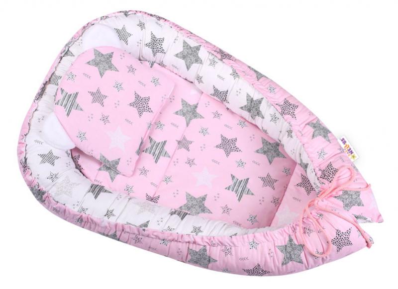 Baby Nellys Sada komplet, oboustranné hnízdečko 50 x 80 cm, STARMIX, růžová