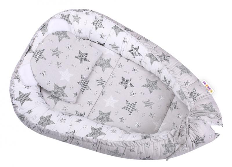 Baby Nellys Sada komplet, oboustranné hnízdečko 50 x 80 cm, STARMIX, šedá