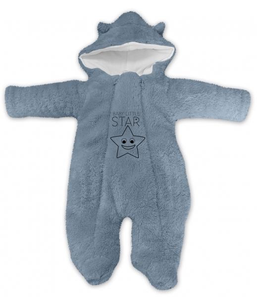 Baby Nellys Zimní chlupáčková kombinézka Little STAR, šedá, Velikost: 56 (1-2m)