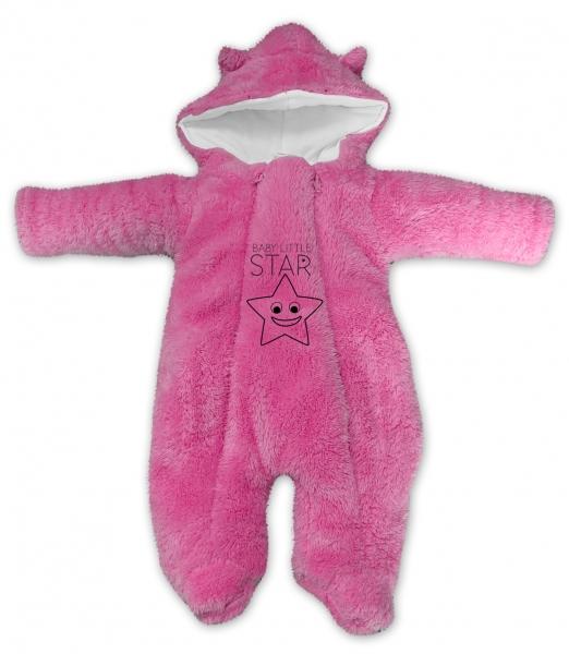 Baby Nellys Zimní chlupáčková kombinézka Little STAR, růžová, Velikost: 56 (1-2m)