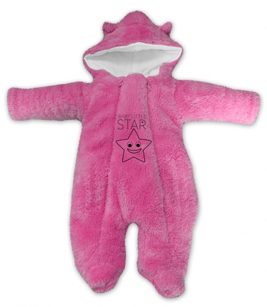 Baby Nellys Zimní chlupáčková kombinézka Little STAR, růžová, vel. 74, Velikost: 74 (6-9m)