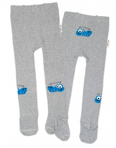 Baby Nellys Dětské punčocháče bavlněné, Crocodiles - šedá, modrá, 1ks, vel. 80/86
