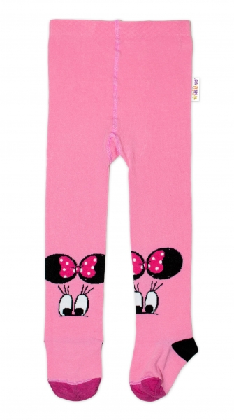 Baby Nellys Dětské punčocháče bavlněné, Minnie - růžová