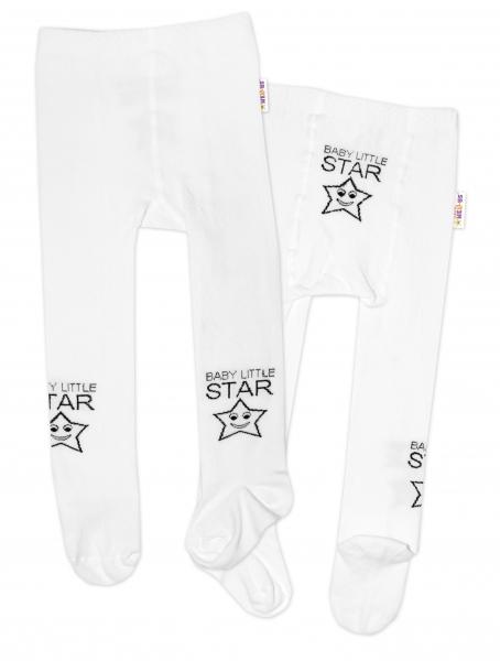 Baby Nellys Dětské punčocháče bavlněné, Baby LITTLE STAR, bílé, 1ks, vel. 80/86