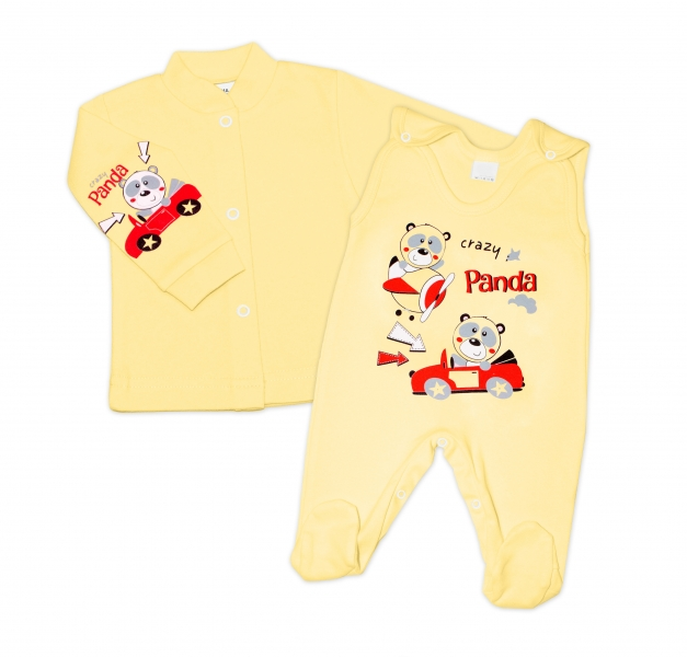 Gama 2-dílná soupravička košilka + dupačky - žlutá, různé obrázky, vel. 52